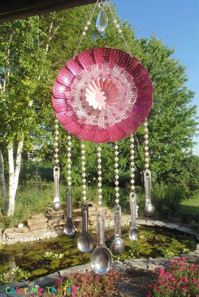 Repurposed metal steamer made in flower wind chime