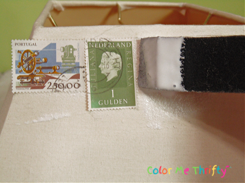 applying stamps onto lampshade with decoupage medium