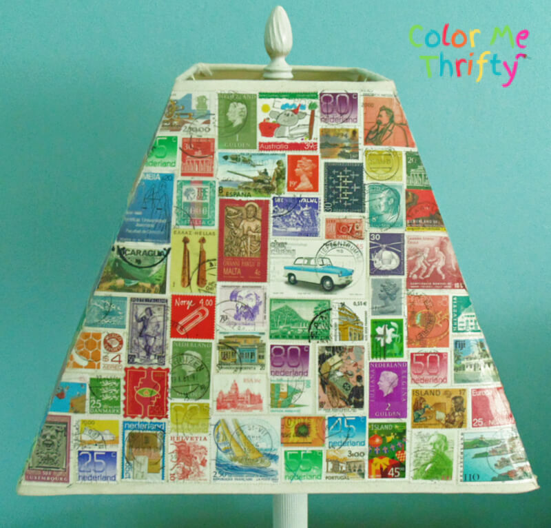 first side of lampshade makeover with decoupaged stamps