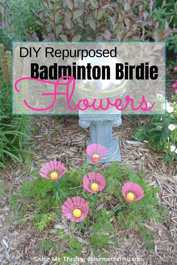 DIY Repurposed Badminton Birdie Flowers for the garden or planter