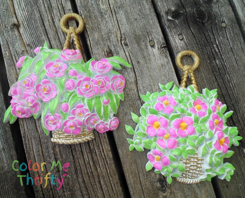 Easy and fun makeover of pair of vintage platic resin Syroco flower wall plaques