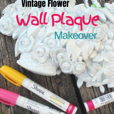 Fun and easy makeover of vintage plastic resin Syroco flower wall plaques