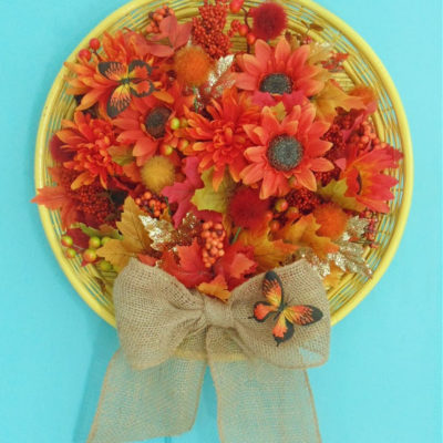 Repurposed Wicker Tray into Easy DIY Wreath for Fall Door Decor