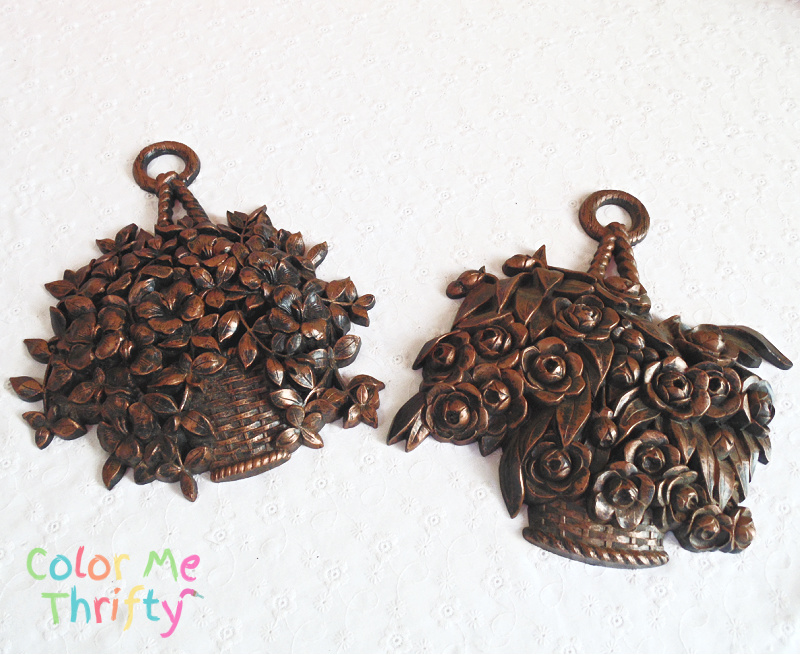 Vintage Syroco flower wall plaque hangings before makeover
