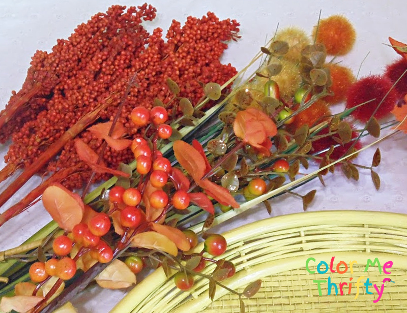faux berries branches for repurposed tray fall wreath