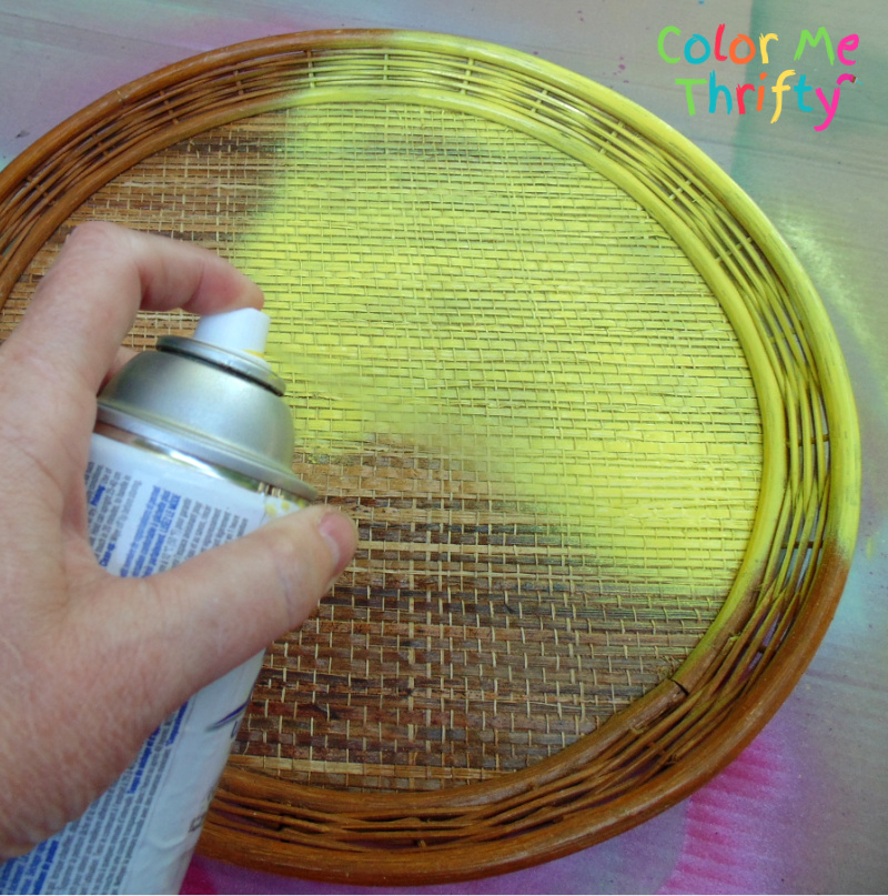 spray painting wicker tray yellow