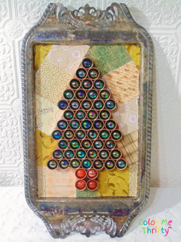 DIY Christmas tree from repurposed copper caps and marbles