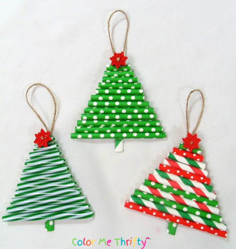 DIY tree ornaments from repurposed straws in fun and colorful Christmas colors