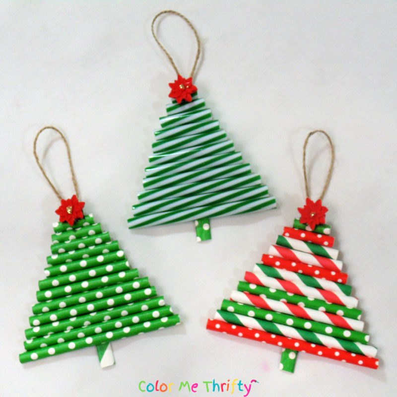 Fun and easy DIY tree ornaments from repurposed straws