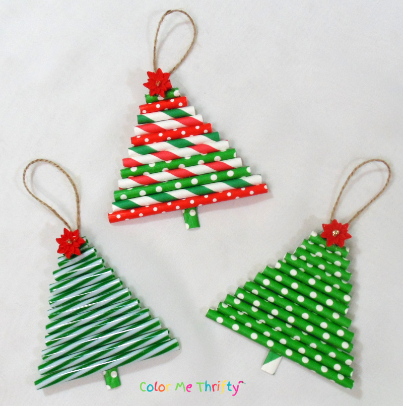 Quick and easy DIY tree ornaments from repurposed straws