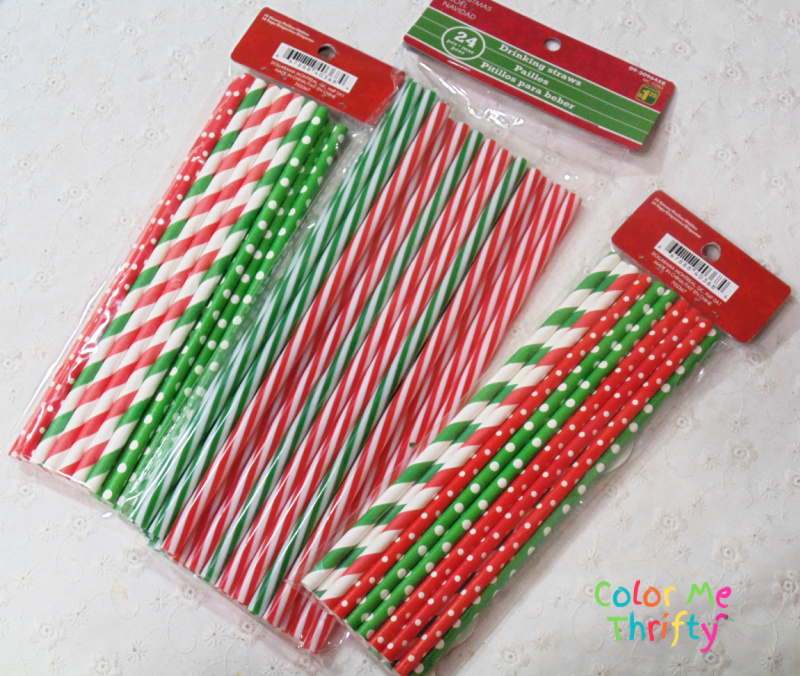 Red green and white straws for diy tree ornaments