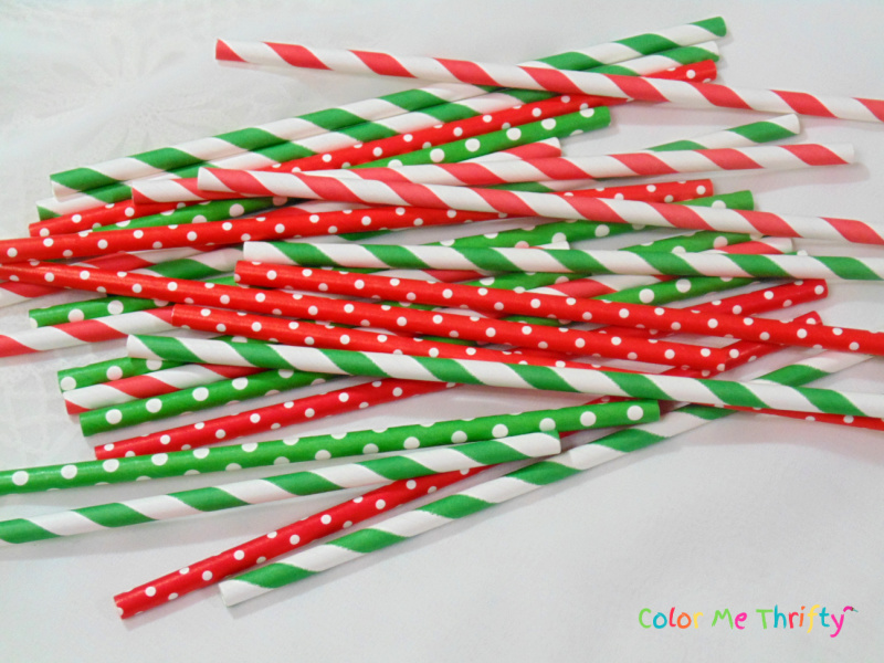 colorful Christmas themed straws