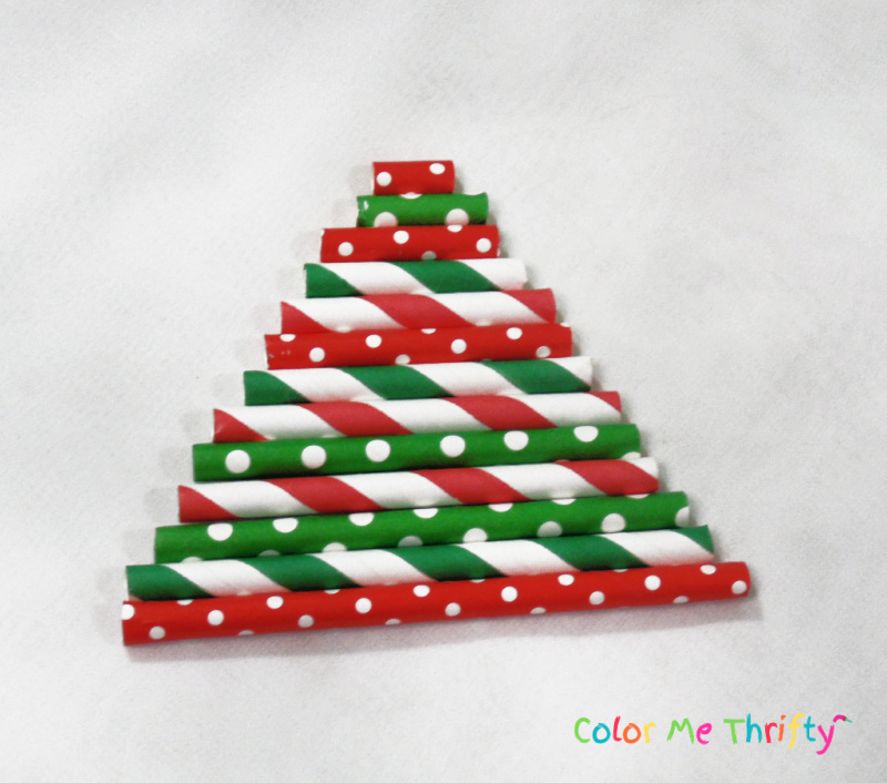 cut paper straws into Christmas tree shape for diy ornaments project
