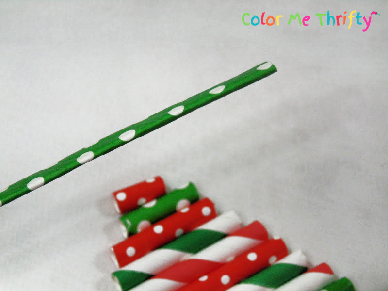 flattening paper straw to use as Christmas tree ornament stem