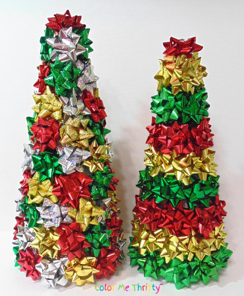DIY repurposed gift bow trees
