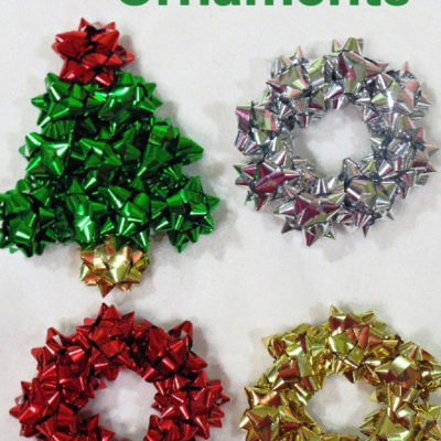 Fun and easy repurposed mini gift bow tree and wreath Christmas ornaments
