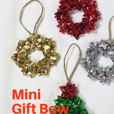 How to create repurposed mini gift bow tree and wreath Christmas ornaments