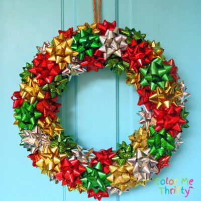 Quick & easy DIY Christmas wreath from repurposed Christmas gift bows