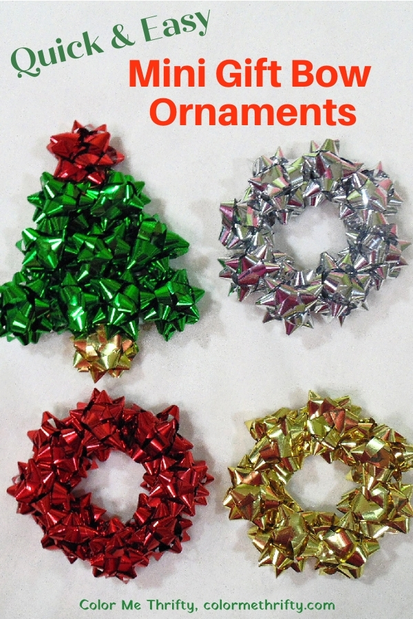 Quick & easy repurposed mini gift bow tree and wreath Christmas ornaments