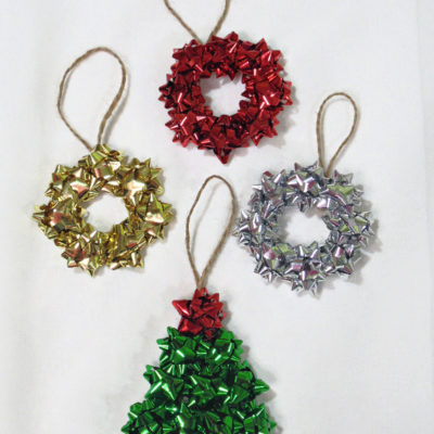 Repurposed mini gift bow tree and wreath Christmas ornaments with jute twine hangers