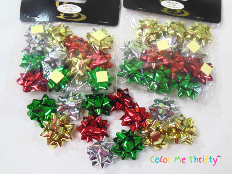mini gift bows in various colors for repurposed ornament project