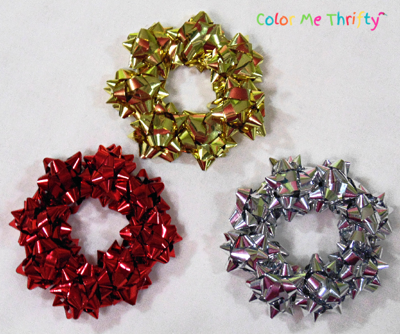 red, silver, and gold mini gift bow wreath ornaments