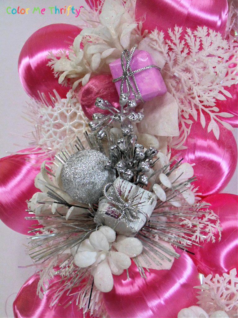 DIY Christmas wreath with satin balls and flower picks