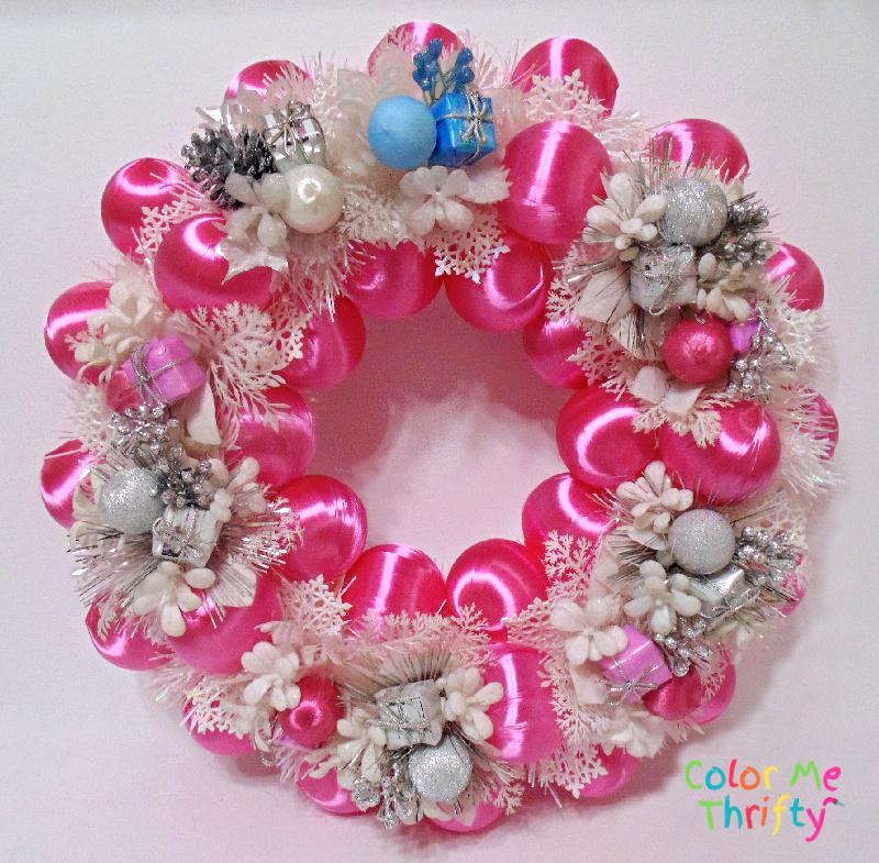 DIY pink satin ball winter wreath