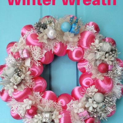 DIY pink & silver winter wreath door decor
