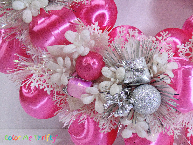DIY pink wreath for winter or Christmas decor