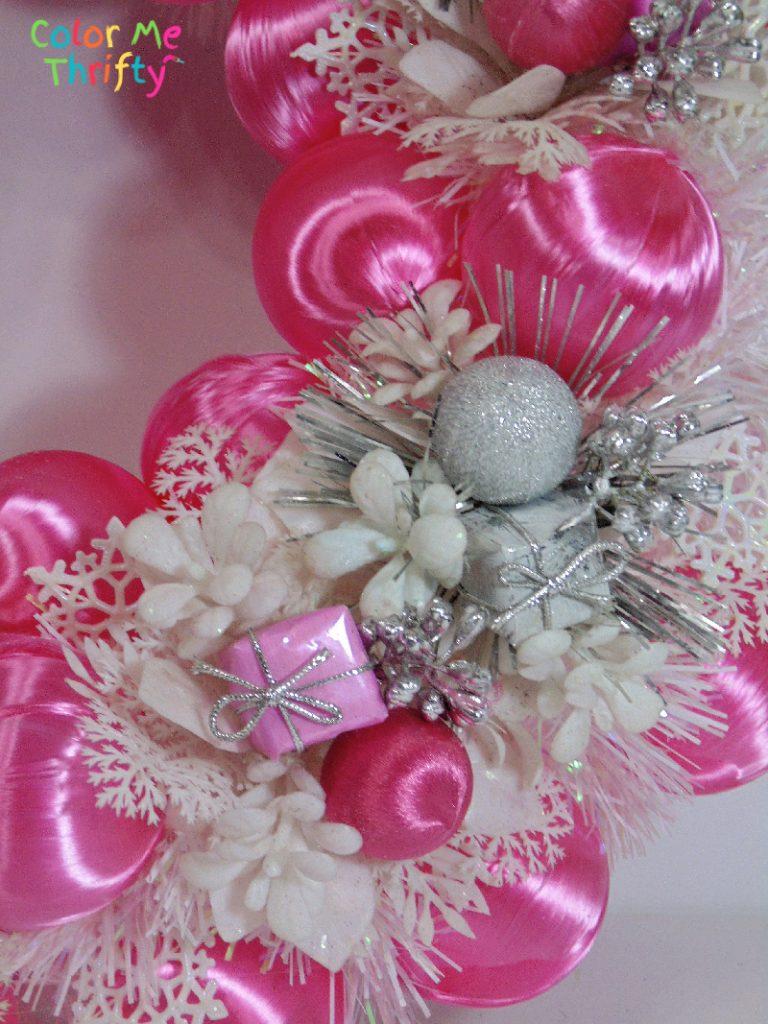 Pink winter wreath using satin balls and flower picks