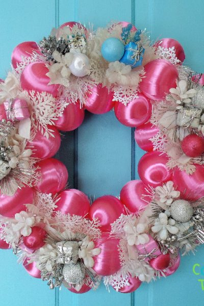 Quick & Easy DIY Pink Winter Wreath for New Year door decor