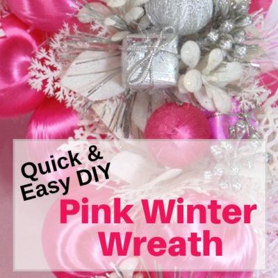Quick & easy pink winter wreath for New Year door decor