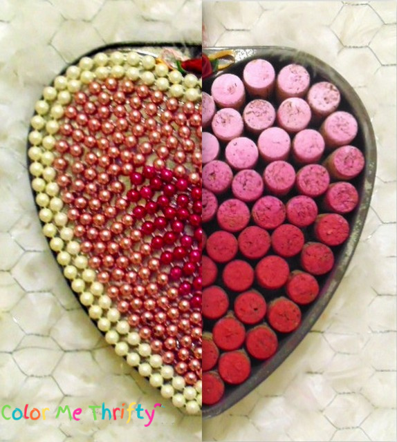 Repurposed baking pan Valentines Day wreath door decor