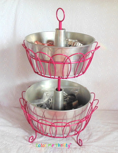 Repurposed bundt cake pans as tiers stand for craft room storage