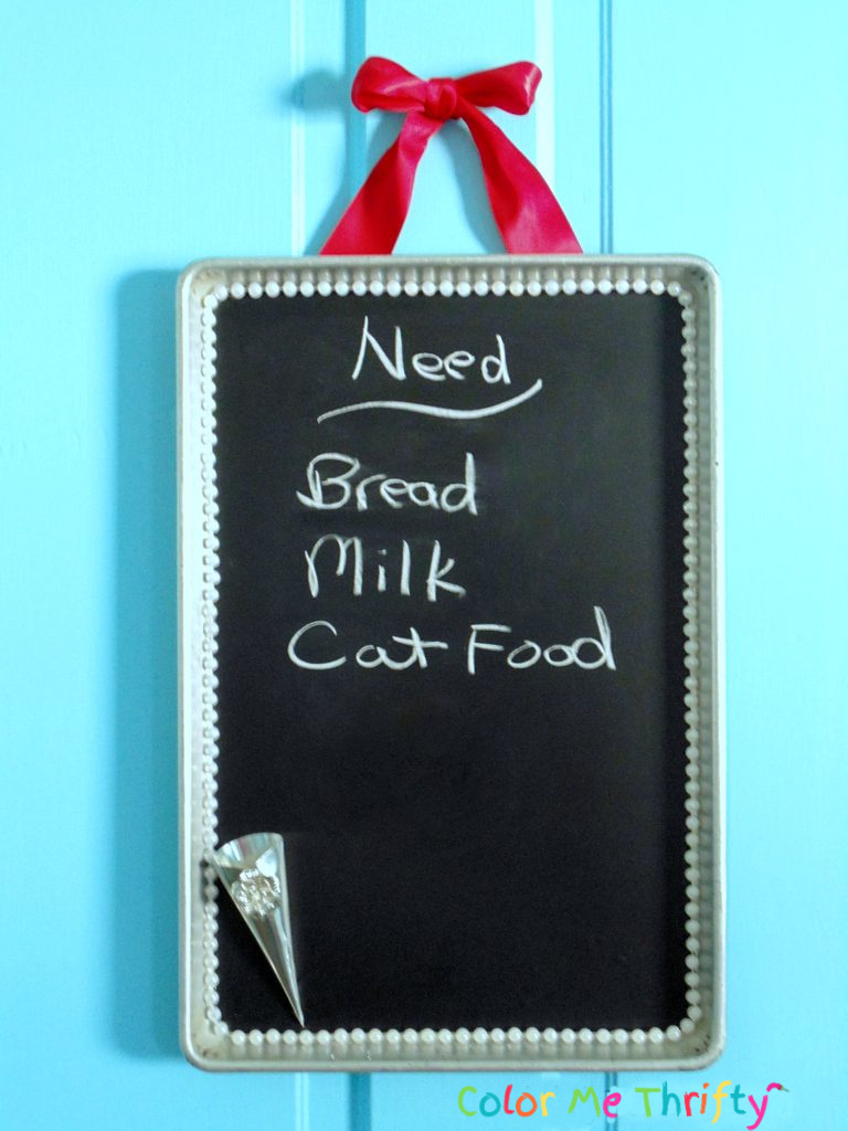 Repurposed cookie sheet chalkboard sign