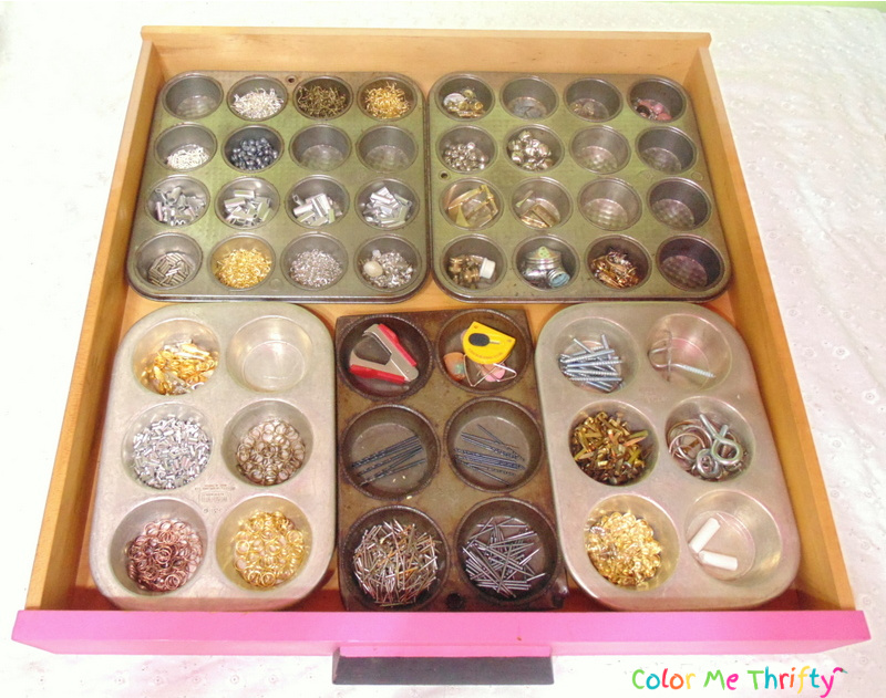 Repurposed muffin pans as drawer organizers