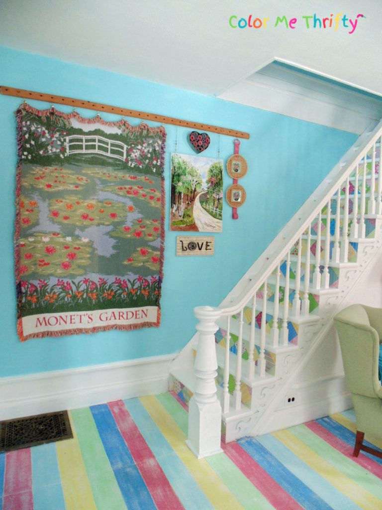 DIY stairs makeover with decoupaged scrapbook paper