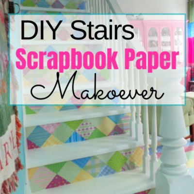 Fun and colorful scrapbook paper stairs makeover