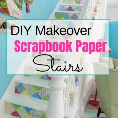 Give plain stairs a complete makeover with decoupaged scrapbook paper