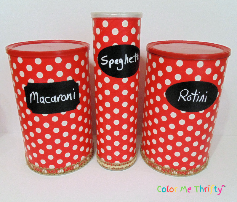 Hot chocolate powder cans decoupaged with wrapping paper