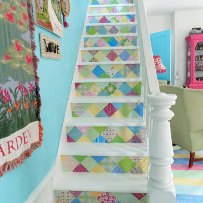 DIY Scrapbook Paper Stairs Makeover