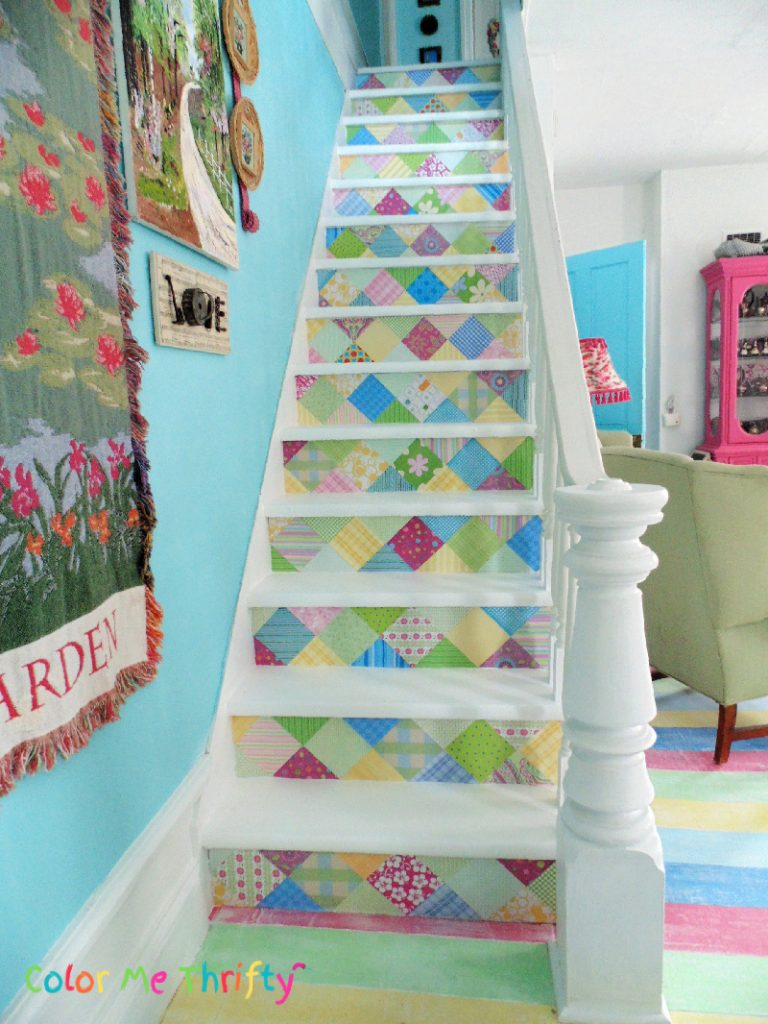How to DIY Scrapbook paper stairs makeover