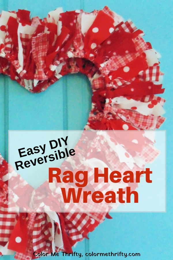 How to create an easy DIY double sided rag heart wreath for your home decor for Valentine's Day