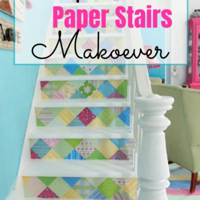 Scrapbook paper stairs makeover that is fun and funky