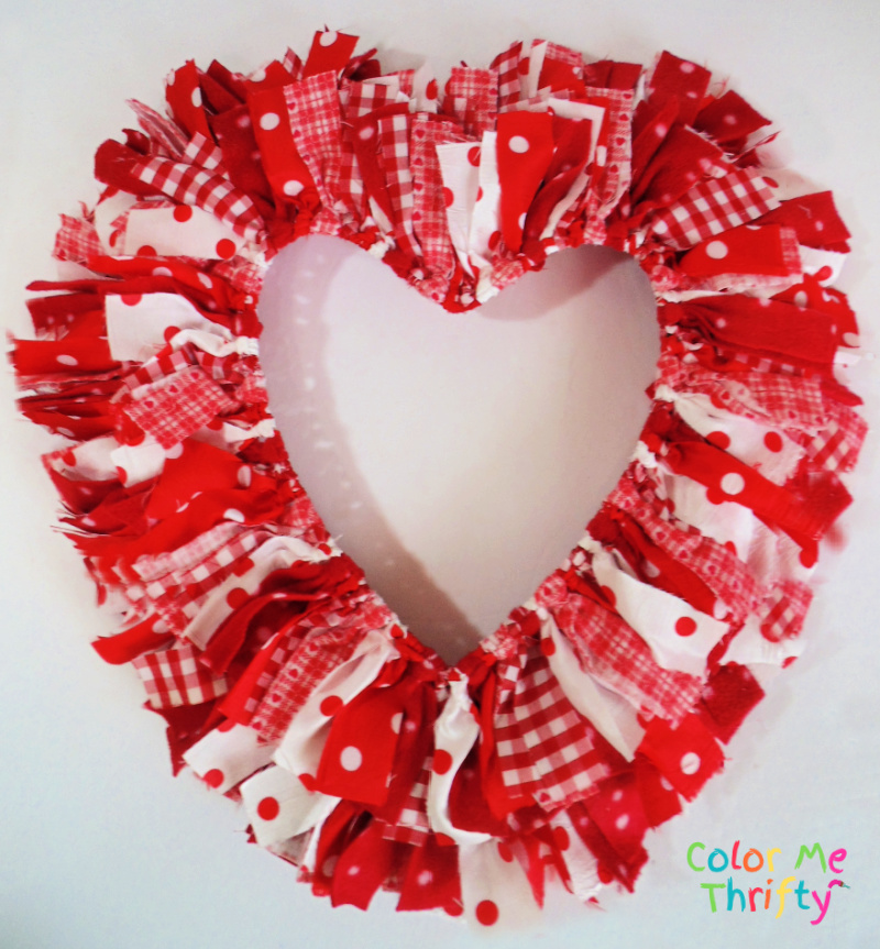 side one view of reversible easy DIY Valentine's Day rag heart wreath