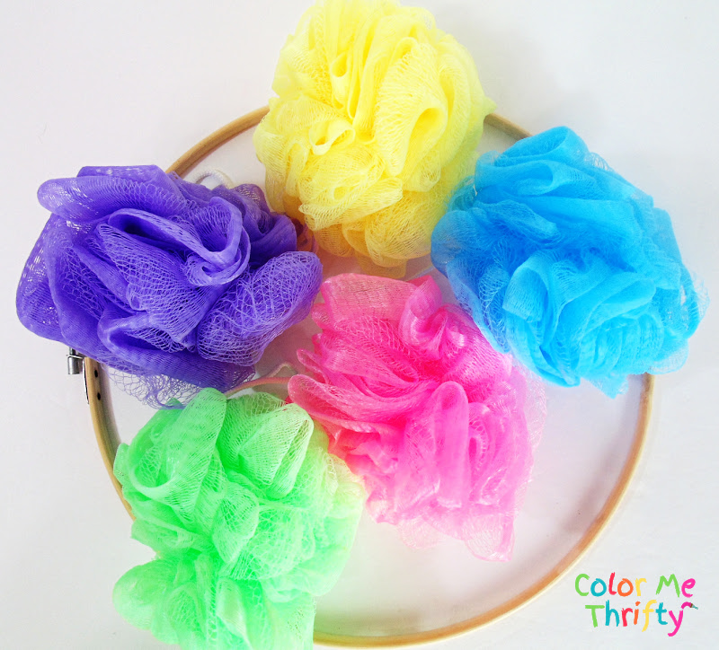 shower poufs in spring colors for Easy Easter wreath