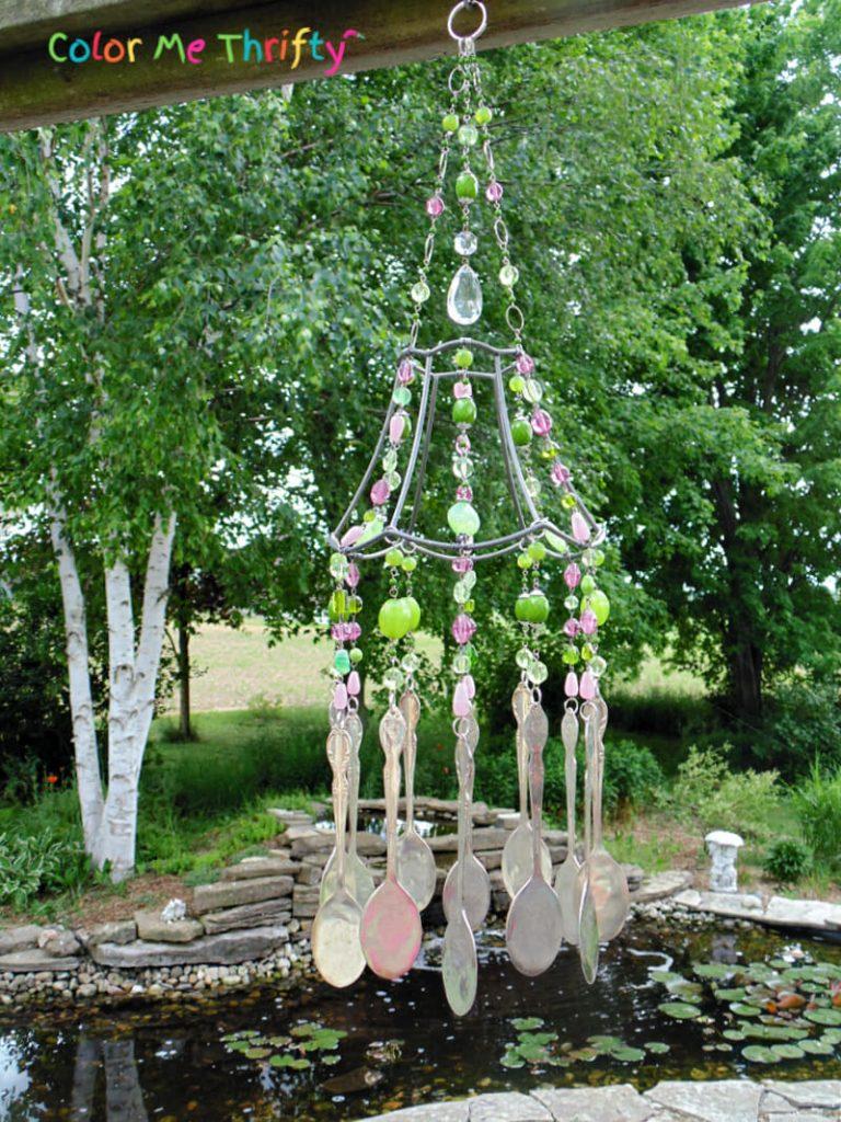 DIY repurposed lampshade wind chime
