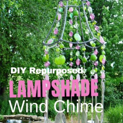 DIY repurposed lampshade wind chime with spoons chimes