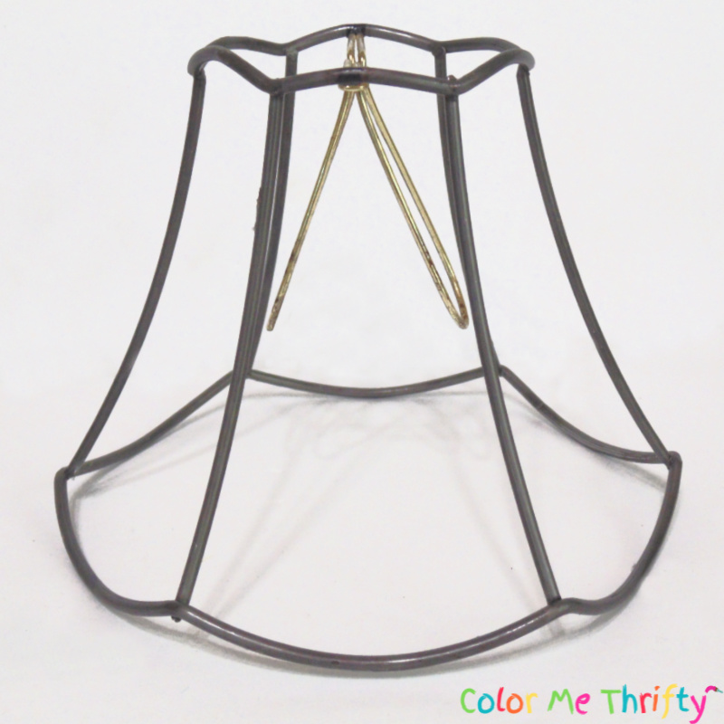 metal frame of lamp shade for repurposed wind chime project